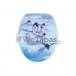 Tapa Wc G-Granato Dibujo Pingüino 3D.