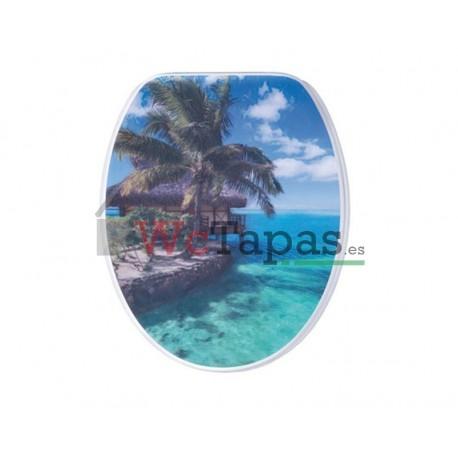 Tapa Wc G-Granato Dibujo Caraibi 3D.